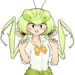 1girl antennae black_eyes bow bowtie clothes_around_waist collared_shirt evolvingmonkey green_hair green_nails hands_up highres insect_girl looking_at_viewer nail_polish original praying_mantis school_uniform sharp_teeth shirt simple_background sleeves_rolled_up solo sweater_around_waist teeth twintails upper_body white_background
