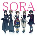 1girl black_coat_(kingdom_hearts) blue_eyes brown_hair commentary fingerless_gloves gloves jewelry kingdom_hearts kingdom_hearts_358/2_days kingdom_hearts_birth_by_sleep kingdom_hearts_ii lowres mizuno_(iori-amu) multiple_boys necklace roxas short_hair sora_(kingdom_hearts) spiky_hair vanitas ventus xion_(kingdom_hearts)