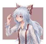 1girl border bow breasts brown_background commentary_request dress_shirt fujiwara_no_mokou hair_between_eyes hair_bow hair_pull hand_up long_hair long_sleeves looking_up medium_breasts nail_polish outside_border red_eyes red_nails roke_(taikodon) shirt silver_hair simple_background sketch solo suspenders touhou upper_body very_long_hair white_border white_bow white_shirt wing_collar