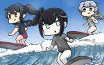 3girls alternate_costume ancient_destroyer_oni black_hair blue_eyes commentary_request dated day drill_hair eyebrows_visible_through_hair hamu_koutarou highres kantai_collection long_hair multiple_girls ocean parted_lips ponytail red_eyes shinkaisei-kan silver_hair smile surfboard surfing violet_eyes waves white_skin yahagi_(kantai_collection) yamagumo_(kantai_collection)