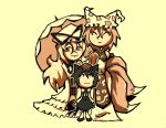3girls animal_ears black_footwear black_skirt black_vest blonde_hair cat_ears cat_tail chen chibi closed_eyes closed_mouth earrings fox_ears fox_tail hair_between_eyes hat jewelry long_hair looking_at_viewer multiple_girls multiple_tails neck_ribbon nekomata pillow_hat ribbon sepia setz shoes short_hair simple_background skirt smile tabard tail touhou two_tails umbrella vest yakumo_ran yakumo_yukari yellow_background