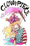 1girl american_flag_legwear american_flag_shirt arm_above_head blonde_hair blush_stickers character_name chibi clownpiece crazy_eyes eyebrows_visible_through_hair fire flan_(harry_mackenzie) grin hat highres holding_torch jester_cap long_hair looking_at_viewer neck_ruff no_shoes red_eyes sharp_teeth short_sleeves simple_background sitting smile solo star teeth torch touhou uneven_eyes v very_long_hair white_background