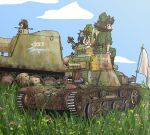 3girls black_hair brown_eyes brown_hair caterpillar_tracks clouds day doden_3-shiki flag girls_und_panzer glasses grass ground_vehicle imperial_japanese_army imperial_japanese_navy military military_vehicle motor_vehicle multiple_girls nib_pen_(medium) self-propelled_gun short_hair sky smile tank traditional_media twintails type_4_ke-nu