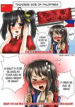 2girls annamakko-tan black_hair blush china china_dress chinese_clothes comic dress flower hair_flower hair_ornament long_hair multiple_girls open_mouth original philippine_flag philippines real_life short_hair smile