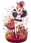 1girl :d ankle_bow ankle_ribbon bare_legs between_breasts black_footwear black_skirt bow bracelet breasts castle cleavage crown disgaea faux_figurine feather_boa full_body harada_takehito heart jewelry looking_at_viewer makai_senki_disgaea_5 makai_wars medium_breasts miniskirt navel necktie necktie_between_breasts official_art open_mouth pink_hair pointy_ears ponytail red_neckwear ribbon sandals seraphina_(disgaea) short_hair sidelocks skirt smile solo standing violet_eyes