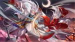 2boys animal_ears brothers crescent_moon detached_sleeves facial_mark fang fighting floating_hair fox_ears highres holding holding_sword holding_weapon inuyasha inuyasha_(character) japanese_clothes jiji_(pixiv10646874) kimono long_hair moon multiple_boys open_mouth outdoors pants red_kimono sesshoumaru siblings silver_hair sky star_(sky) starry_sky sword very_long_hair weapon white_pants yellow_eyes