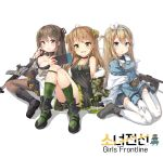3girls :d :o ahoge assault_rifle asymmetrical_legwear bangs bare_shoulders belt black_dress black_footwear black_gloves blonde_hair blue_coat blue_eyes blush boots bow breasts brown_eyes brown_hair buckle camouflage_jacket choker cleavage coat collarbone collared_coat copyright_name cross-laced_footwear daewoo_k2 dog_tags double_bun dress drum_magazine eyebrows_visible_through_hair fingerless_gloves fishnet_legwear fishnets frown fur-trimmed_jacket fur_trim girl_sandwich girls_frontline gloves green_eyes green_legwear grey_footwear gun hair_between_eyes hair_bow hair_ornament hairband hairclip handheld_game_console highres holding_handheld_game_console horizontal-striped_legwear jacket k-2_(girls_frontline) knee_boots knees_up lace-up_boots large_breasts long_hair looking_at_viewer medium_breasts military military_uniform multiple_girls navel off_shoulder ohshit open_mouth panties pantyhose rfb_(girls_frontline) rifle sandwiched scratching_cheek shirt short_dress sidelocks simple_background sitting skirt smile snowflake_hair_ornament striped striped_legwear submachine_gun suomi_kp/-31 suomi_kp31_(girls_frontline) thigh-highs thigh_strap thighs underwear uniform vertical-striped_legwear vertical_stripes wariza weapon white_background white_legwear