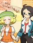 1boy 1girl ahoge bebe_0620 bel_(pokemon) black_hair blazer blonde_hair blue_eyes blue_jacket breasts cheren_(pokemon) commentary_request glasses green_hat hat jacket pokemon pokemon_(game) pokemon_bw