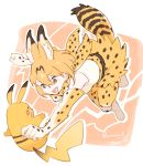 1girl action animal_ears bare_shoulders belt blonde_hair commentary_request elbow_gloves eyebrows_visible_through_hair fang gloves high-waist_skirt kemono_friends multiple_girls open_mouth pikachu pikachu_ears pikachu_tail pokemon pokemon_ears serval_(kemono_friends) serval_ears serval_print serval_tail seto_(harunadragon) short_hair skirt sleeveless tail thigh-highs