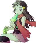 1girl :p ankea_(a-ramo-do) bangs blue_hair food hikari_(pokemon) licking long_hair looking_at_viewer pink_footwear pink_skirt pokemon pokemon_(game) pokemon_dppt popsicle red_scarf scarf sitting skirt smile snack solo tongue tongue_out watch watch