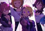 4girls arm_belt black_skirt blonde_hair bow brown_hair character_request commentary_request earrings flower grin hair_between_eyes hair_bow hand_up heart heart-shaped_pupils holysnow index_finger_raised jacket jewelry long_sleeves looking_at_viewer multiple_girls ponytail purple_flower purple_rose red_eyes redhead rose shirt skirt smile symbol-shaped_pupils tokyo_7th_sisters violet_eyes white_shirt