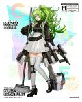 1girl :d apron bangs black_footwear blush breasts bucket character_name clothes_writing collarbone dress frills full_body girls_frontline green_hair grey_legwear gun hair_between_eyes hand_on_hip handgun head_tilt high_heels holding holding_gun holding_weapon long_hair looking_at_viewer m950a m950a_(girls_frontline) maid medium_breasts mop official_art open_mouth pistol pouch puffy_sleeves shoulder_cutout sidelocks single_knee_pad skirt smile solo standing standing_on_one_leg trigger_discipline twintails wavy_hair weapon yellow_eyes zagala