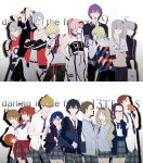 1boy 1girl 6+boys 6+girls ahoge bag ball bangs bare_shoulders belt black_collar black_hair black_hairband black_jacket black_pants blazer blonde_hair blue_eyes blue_hair blue_hairband blush bow bowtie bracelet breasts brown_hair candy chenaze57 cleavage closed_eyes collar collarbone collared_shirt commentary_request couple crossed_arms darling_in_the_franxx earrings english eyebrows_visible_through_hair food food_in_mouth futoshi_(darling_in_the_franxx) glasses gorou_(darling_in_the_franxx) green_eyes green_hair grey_blazer grey_pants grey_shirt grey_skirt hair_ornament hairband hairclip hand_on_hip hand_to_own_mouth handbag hetero high_ponytail highres hiro_(darling_in_the_franxx) holding holding_ball holding_candy holding_food holding_lollipop hood hoodie horns ichigo_(darling_in_the_franxx) ikuno_(darling_in_the_franxx) jacket jewelry kokoro_(darling_in_the_franxx) light_blue_eyes light_blue_hair light_brown_hair lollipop long_hair long_sleeves looking_at_viewer miku_(darling_in_the_franxx) mitsuru_(darling_in_the_franxx) multiple_boys multiple_girls navel navy_blue_jacket necklace nine_alpha nine_beta nine_delta nine_epsilon nine_eta nine_gamma nine_theta nine_zeta oni_horns open_blazer open_clothes open_jacket panties pants pink_eyes pink_hair pink_ribbon plaid plaid_pants plaid_skirt ponytail purple_hair red_belt red_horns redhead ribbon school_uniform shirt short_hair silver_hair skirt sleeves_rolled_up striped striped_neckwear thick_eyebrows thighs twintails underwear violet_eyes white_shirt wing_collar yellow_eyes zero_two_(darling_in_the_franxx) zorome_(darling_in_the_franxx)
