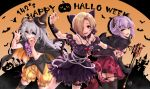 3girls :d ahoge bat bat_hair_ornament black_cape black_gloves black_legwear black_nails blonde_hair bloomers brown_eyes cape castle cat claw_pose commentary_request demon_horns demon_tail fangs gem gloves grey_eyes group_name hair_ornament hair_over_one_eye halloween happy_halloween highres horns hoshi_shouko idolmaster idolmaster_cinderella_girls jack-o'-lantern jack-o'-lantern_hair_ornament kawaii_boku_to_142's koshimizu_sachiko long_hair looking_at_viewer multiple_girls nail_polish open_mouth orange_background pina_korata pleated_skirt polearm purple_hair red_eyes red_skirt shirasaka_koume short_hair silhouette silver_hair skirt skull_necklace smile tail tdnd-96 thigh-highs tombstone trident underwear weapon wrist_flower yellow_bloomers