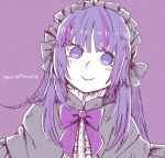 1girl bangs blush bow capelet gothic_lolita headdress lolita_fashion long_hair looking_at_viewer marie_marie multicolored_hair nagi_(0715) purple_bow purple_hair smile solo sound_horizon streaked_hair vanishing_starlight violet_eyes