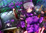 1girl :< :3 :d =_= airsoft black_gloves blush cat chain-link_fence closed_eyes closed_mouth commentary english_commentary fence fingerless_gloves flag gloves gun helmet holding holding_flag holding_gun holding_weapon long_hair nyarla_(osiimi) open_mouth original osiimi overalls paint_gun pouch purple_hair smile standing violet_eyes weapon