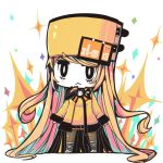 blonde_hair chibi guilty_gear guilty_gear_xrd hat iguana_henshuu-chou long_hair millia_rage orange_hat pantyhose ribbon very_long_hair