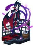 1boy black_cape black_footwear black_hair black_pants cape chains choker disgaea expressionless faux_figurine fish full_body harada_takehito looking_at_viewer makai_senki_disgaea_4 makai_wars male_focus pale_skin pants popped_collar red_eyes shoes snake solo standing urn valvatorez_(disgaea)