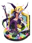 1boy akutare_(disgaea) bare_chest blonde_hair disgaea faux_figurine full_body grin guitar harada_takehito holding holding_instrument instrument jewelry looking_at_viewer makai_senki_disgaea_2 makai_wars male_focus necklace official_art pants pointy_ears popped_collar purple_pants rainbow_order shoes smile solo standing violet_eyes white_coat