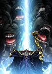 1boy absurdres ainz_ooal_gown black_dress dress highres holding hooded key_visual long_dress monster official_art outstretched_arms overlord_(maruyama) skull solo standing