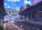 1girl background blue_jacket blue_sky brown_hair chair cherry_blossoms clouds cloudy_sky commentary_request flower grass highres jacket mountain niko_p open_clothes open_jacket original pink_footwear power_lines railroad_tracks scenery skirt sky solo standing train_station tree vending_machine white_skirt