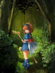1girl :d arle_nadja blue_footwear blue_skirt boots bracer brown_eyes brown_hair bush cape commentary_request forest grass hairband highres holding looking_at_viewer looking_back madou_monogatari nature open_mouth outdoors puyopuyo shoulder_armor skirt smile solo spaulders staff standing tree waichi white_cape