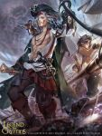1boy abs artist_name blue_eyes clouds copyright_name dagger eyepatch faceless faceless_male facial_mark gun hat highres hook_hand legend_of_the_cryptids long_hair male_focus map navel official_art pirate pirate_hat shirtless sky solo squirrel sword teeth weapon white_hair zinnadu