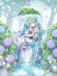 1girl absurdly_long_hair barefoot bow dress flower green_eyes green_hair grey_bow hair_between_eyes hair_bow hair_ornament hand_in_hair hatsune_miku hydrangea long_dress long_hair looking_at_viewer outdoors rain roang sitting sleeveless sleeveless_dress smile solo sundress tree twintails very_long_hair vocaloid white_dress