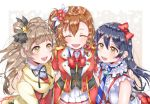 3girls bangs blue_hair bokura_no_live_kimi_to_no_life bokura_wa_ima_no_naka_de bow braid commentary_request girl_sandwich grey_hair hair_between_eyes kousaka_honoka long_hair love_live! love_live!_school_idol_project minami_kotori multiple_girls necktie one_side_up open_mouth orange_hair puffy_short_sleeves puffy_sleeves sandwiched short_sleeves smile sonoda_umi striped_neckwear