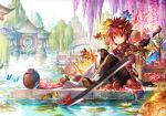 1boy architecture bug butterfly colorful east_asian_architecture elsword elsword_(character) flower food fruit hair_ornament insect pond red_eyes redhead scorpion5050 sitting smile solo sword tree weapon