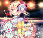 1girl :d aerial_fireworks bangs blonde_hair blush bow candy_apple commentary_request crystal eyebrows_visible_through_hair fang fireworks flandre_scarlet floral_print food frilled_sleeves frills hair_between_eyes hand_up holding holding_food japanese_clothes kimono lake long_hair long_sleeves looking_at_viewer looking_to_the_side mask mask_on_head night night_sky obi open_mouth outdoors print_kimono red_eyes remilia_scarlet rikatan sash side_ponytail sky smile solo star_(sky) starry_sky touhou water white_kimono wide_sleeves wings yellow_bow yukata