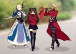 1boy 2girls ahoge archer armor armored_dress artoria_pendragon_(all) black_hair black_legwear black_skirt blonde_hair commentary_request covering_ears dark_skin dark_skinned_male dress fate/stay_night fate_(series) gauntlets hair_bun hair_ribbon instrument long_hair long_sleeves meme multiple_girls music no_eyes no_mouth playing_instrument ribbon saber short_hair skirt thigh-highs tohsaka_rin trumpet_boy twintails two_side_up white_hair yaoshi_jun zettai_ryouiki
