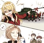 6+girls ? alisa_(girls_und_panzer) alternate_hairstyle assam blonde_hair bow braid brown_hair closed_eyes coffee_mug cup darjeeling girls_und_panzer ground_vehicle kay_(girls_und_panzer) long_hair military military_vehicle motor_vehicle mug multiple_girls naomi_(girls_und_panzer) orange_pekoe personality_switch phone redhead rosehip saunders_military_uniform sherman_firefly shouting smile smug st._gloriana's_military_uniform sweatdrop tank unbuttoned unbuttoned_shirt yuuyu_(777)