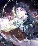 1boy ahoge bangs black_hair book cyrus_(octopath_traveler) jewelry long_sleeves looking_at_viewer oboro_keisuke octopath_traveler parted_bangs pendant robe shirt short_hair smile solo sparkle upper_body violet_eyes