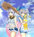 2girls anchor_symbol bangs bare_arms bare_shoulders belt_buckle beret blue_eyes blue_hat blue_sailor_collar blue_shorts blue_sky blush bronya_zaychik buckle cameltoe clouds cloudy_sky commentary_request day drill_hair eyebrows_visible_through_hair flower grey_eyes hair_between_eyes hair_tie hat head_tilt heart highres honkai_impact innertube long_hair looking_at_viewer mouth_hold multiple_girls navel object_hug orange_belt outdoors parted_lips pink_innertube sailor_collar see-through shirt short_shorts shorts side_drill signature silver_hair single_drill sky sleeveless sleeveless_shirt standing starfish straw_hat stuffed_animal stuffed_bunny stuffed_toy sunflower teratsuki theresa_apocalypse water_drop white_camisole white_flower white_shirt yellow_flower
