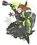 1girl alternate_costume armor armored_boots boots brigitte_(overwatch) brown_hair flag freckles gloves hair_ornament hairclip highres long_hair mace open_mouth outlaws_brigitte overwatch ponytail shield star teeth weapon white_background yellow_eyes