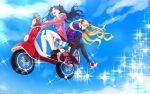 2girls alternate_costume backpack bag black_hair blonde_hair blue_sky ereshkigal_(fate/grand_order) fate/grand_order fate_(series) flying ground_vehicle hair_ribbon highres ishtar_(swimsuit_rider)_(fate) karasaki motor_vehicle multiple_girls pantyhose parka red_eyes ribbon scooter sky sparkle twintails