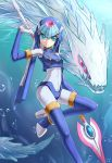 1girl 2578221183 android blue_eyes bodysuit boots breasts bubble capcom closed_mouth gloves helmet high_heels highres holding holding_weapon ice ice_dragon inti_creates leviathan_(rockman) looking_at_viewer medium_breasts polearm red_eyes rockman rockman_zero smile solo spear thigh-highs thigh_boots underwater weapon white_gloves