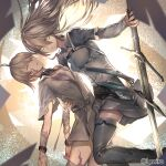 ahoge arcaea bangs black_collar black_footwear black_legwear boots breasts brown_hair burn_scar character_request collar collared_shirt commentary_request dutch_angle eyebrows_visible_through_hair fixro2n floating_hair green_eyes grey_shirt grey_skirt hair_between_eyes holding holding_sword holding_weapon long_hair medium_breasts official_art scar shirt skirt sword thigh-highs thigh_boots watermark weapon