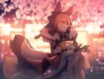 1girl animal_ears black_bow black_gloves bow bracer breasts brown_hair character_check cleavage dog_ears fur_trim gloves green_eyes hair_bow heterochromia large_breasts lycanroc moe_(hamhamham) night outdoors personification petals pokemon red_eyes solo standing tail