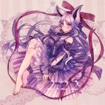 1girl animal_ears bangs bare_shoulders barefoot blush bow candy chocolate chocolate_heart dog_ears doily dress espeon food frills full_body heart highres jewelry long_hair looking_at_viewer moe_(hamhamham) parted_bangs parted_lips personification pokemon purple_background purple_bow purple_dress purple_hair red_ribbon ribbon sitting striped striped_background tail very_long_hair violet_eyes