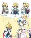 1girl 4boys add_(elsword) angry armor bare_shoulders chung_seiker code:_empress_(elsword) crying deadly_chaser_(elsword) elsword eve_(elsword) facial_mark forehead_jewel iron_paladin_(elsword) leash lunatic_psyker_(elsword) multiple_boys pikachu pokemon short_hair silver_hair sketch tactical_trooper_(elsword) thinking trap wanko_(takohati8) white_hair