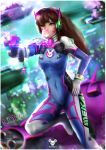 1girl animal_print arm_up artist_logo artist_name bangs blue_bodysuit bodysuit boots breasts brown_eyes brown_hair bubble_blowing bunny_charm bunny_print charm_(object) chewing_gum commentary covered_navel d.va_(overwatch) facepaint facial_mark gloves gun hand_on_hip headphones highres holding holding_gun holding_weapon long_hair looking_past_viewer mecha medium_breasts meka_(overwatch) overwatch pilot_suit ribbed_bodysuit shoulder_pads skin_tight solo tecnomayro weapon whisker_markings white_footwear white_gloves