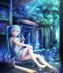 1girl barefoot blue_eyes blue_hair bottle dress frilled_dress frills full_body grey_dress hair_between_eyes hair_ribbon hand_on_own_knee hatsune_miku headphones highres holding holding_bottle long_hair looking_up outdoors ramune red_ribbon ribbon short_dress sleeveless sleeveless_dress smile soaking_feet solo twintails utatanecocoa very_long_hair vocaloid younger