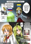 2girls annamakko-tan bangs crying crying_with_eyes_open door jewelry long_hair multiple_girls open_mouth original real_life ring russian_flag tears