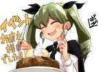 1girl :t absurdres anchovy anzio_school_uniform artist_name bangs barashiya black_cape black_neckwear black_ribbon blush cake cape commentary_request dress_shirt drill_hair eating eyebrows_visible_through_hair food food_on_face fork girls_und_panzer green_hair hair_ribbon happy highres holding holding_fork holding_knife ice_cream knife long_hair long_sleeves necktie open_mouth ribbon school_uniform shirt signature smile solo twin_drills twintails whipped_cream white_shirt