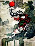amaterasu animal facing_viewer no_humans ookami_(game) solo watermark web_address wenqing_yan white_wolf wolf