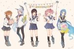 5girls :o anniversary black_legwear blue_eyes blue_hair bouquet brown_eyes brown_hair cake champagne_bottle colis commentary_request confetti elbow_gloves flower folded_ponytail food fubuki_(kantai_collection) full_body gloves hair_bobbles hair_ornament head_tilt inazuma_(kantai_collection) kantai_collection long_hair multiple_girls murakumo_(kantai_collection) neck_ribbon necktie pantyhose pink_eyes pink_hair pleated_skirt ribbon sailor_collar samidare_(kantai_collection) sazanami_(kantai_collection) school_uniform serafuku simple_background skirt standing thigh-highs twintails twitter_username white_background zettai_ryouiki