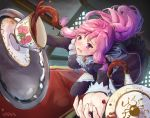 1girl alternate_costume apron blush breasts dress dropping enmaided fingerless_gloves fire_emblem fire_emblem:_seima_no_kouseki frills gloves ippers long_hair looking_at_viewer maid maid_apron maid_headdress marica_(fire_emblem) medium_breasts open_mouth pink_hair ponytail purple_hair solo tea tears violet_eyes waist_apron weapon