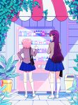 2girls artist_name bag blue_skirt bottle commentary day doki_doki_literature_club from_behind hair_ornament hairclip hand_on_hip height_difference highres index_finger_raised kneehighs kneepits long_hair multiple_girls natsuki_(doki_doki_literature_club) outdoors pink_hair plant pleated_skirt potted_plant purple_hair savi_(byakushimc) school_uniform shoes short_hair skirt trash_can two_side_up vending_machine violet_eyes white_footwear white_legwear yuri_(doki_doki_literature_club)
